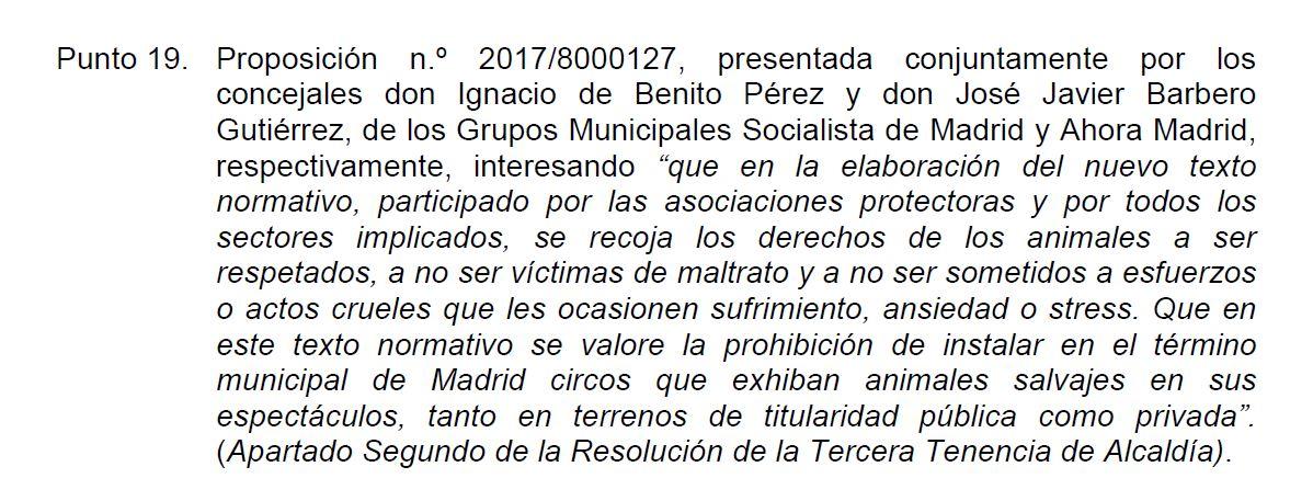 El Ayuntamiento de Madrid aprueba la propuesta que estudia prohibir la presencia de animales salvajes en circos