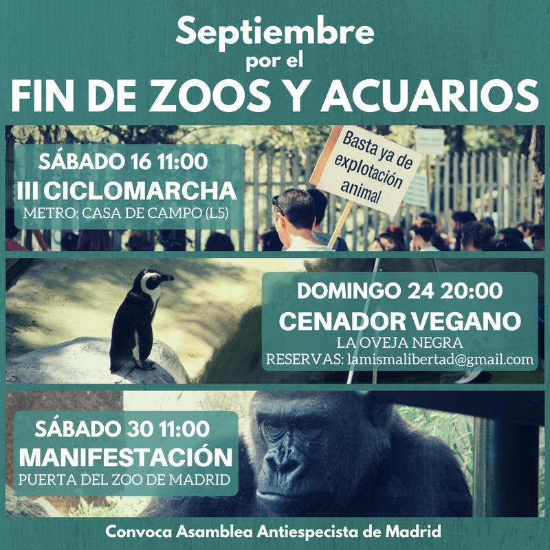 Septiembre por el fin de los zoos y acuarios