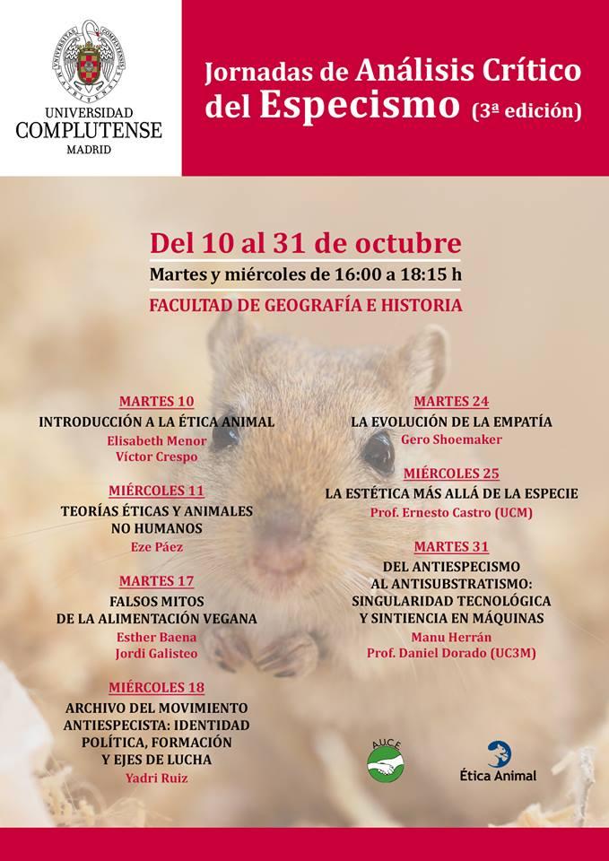 III Jornada de Análisis Crítico del Especismo (10-31 octubre)