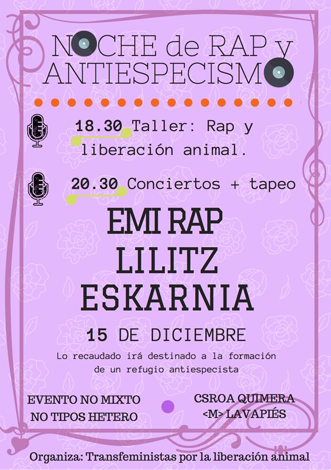 Noche de rap y antiespecismo organizado por Transfeministas por la Liberación Animal