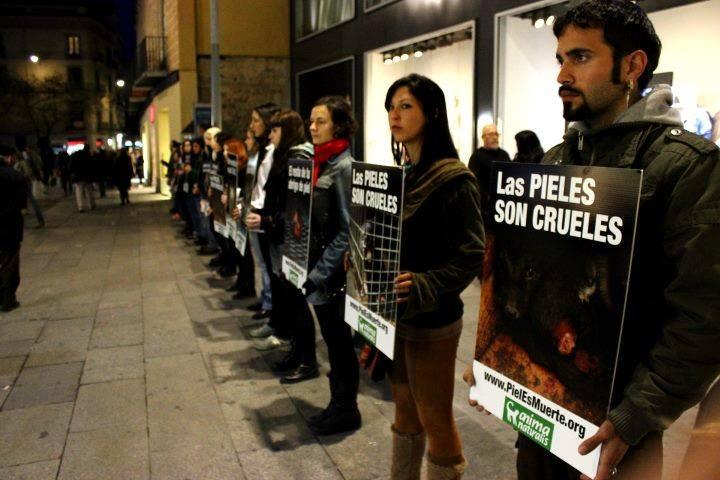 Acción de protesta contra el uso de pieles en Madrid