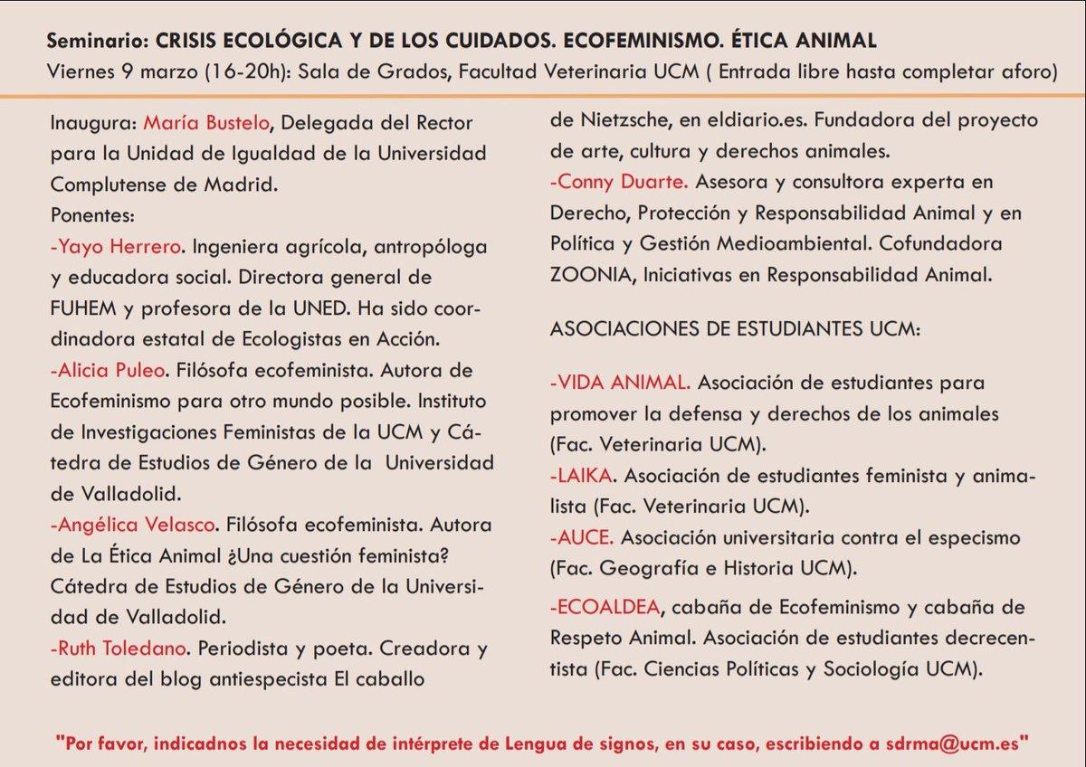 """Seminario """"Crisis Ecológica de los Cuidados. Ecofeminismo y Ética Animal"""" en la UCM"""