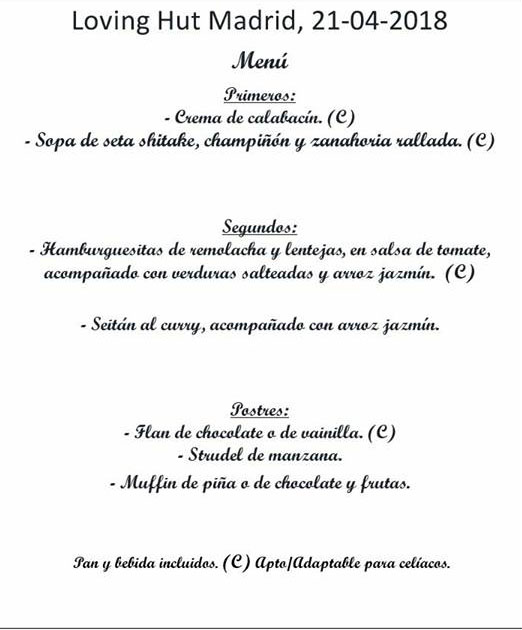 Cena a favor de La estrella animal en Loving Hut Madrid
