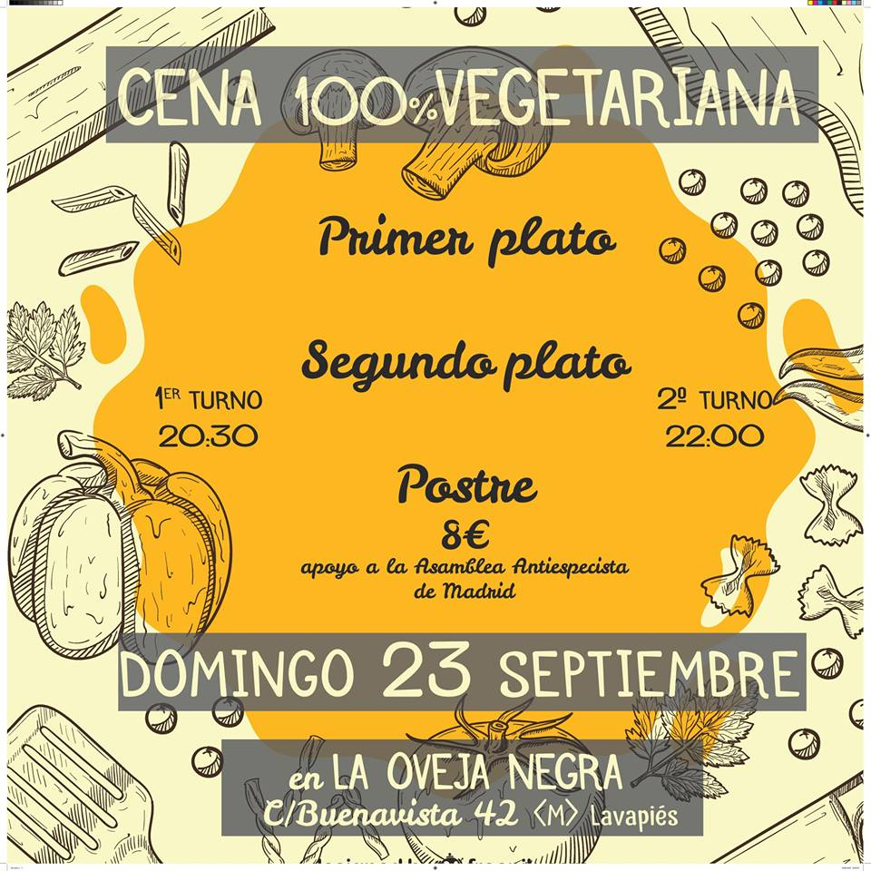 Cena a favor de la Asamblea Antiespecista de Madrid en La Oveja Negra