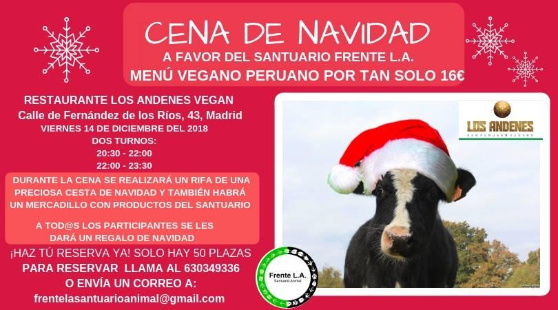 Cena a favor del santuario Frente L.A. en Los Andenes Vegan