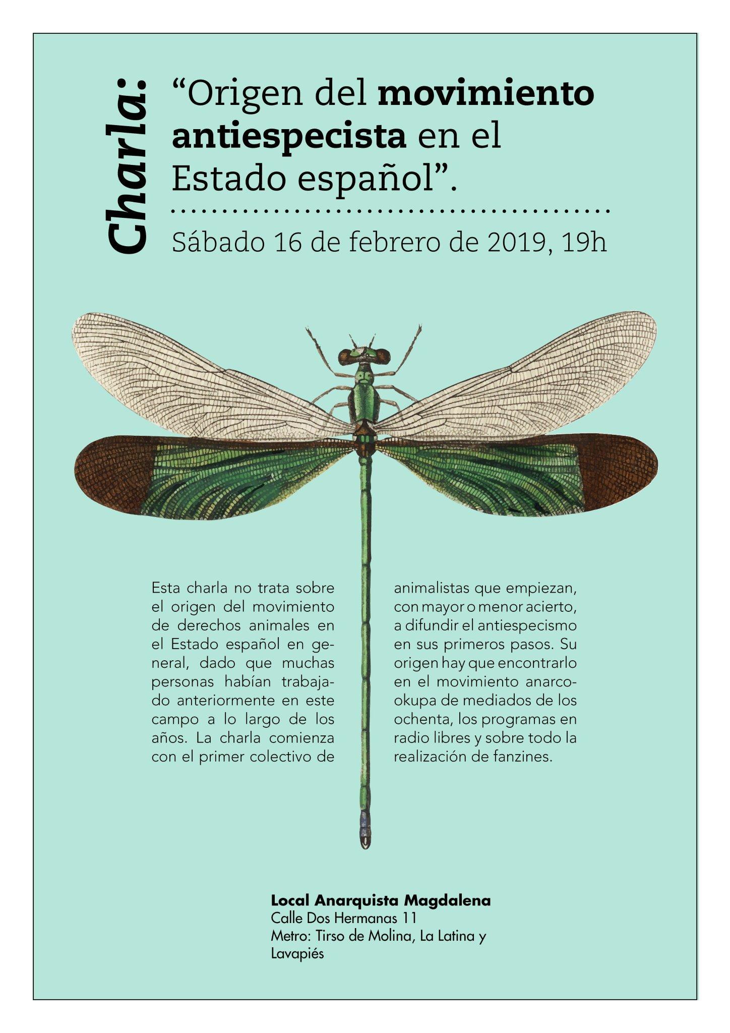 """Charla """"Origen del movimiento antiespecista en el Estado español"""""""