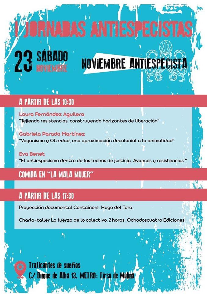 I Jornadas Antiespecistas organizadas por Noviembre Antiespecista