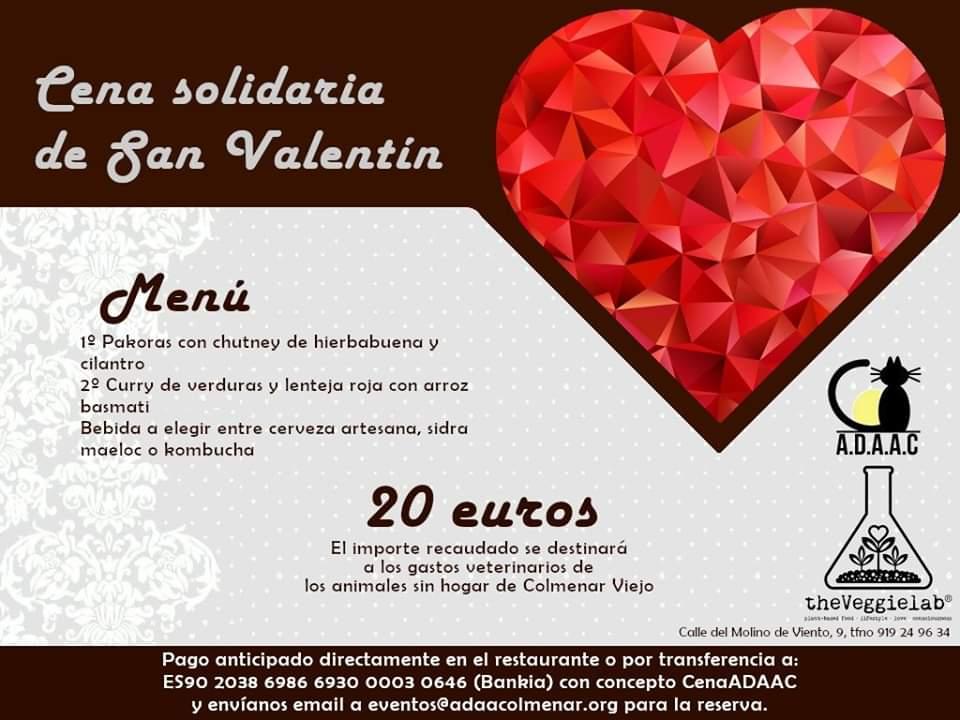 Cena de San Valentín a favor de ADAAC Colmenar Viejo